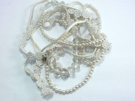 bolus: Pearl Necklace on White Background Stock Photo