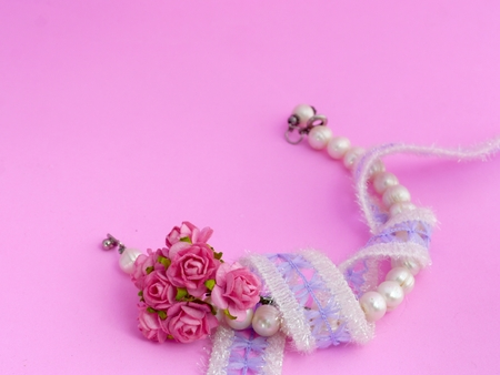 Pearl Bracelet, Lace And Pink Roses Stock Photo