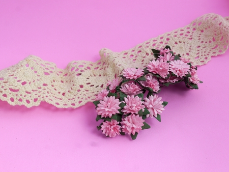 Pink Daisy and Ivory Lace on Pink Background