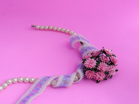 Pearl Bracelet, Lace and Pink Daisy