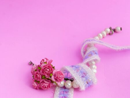 Pearl Bracelet, Lace and Pink Roses