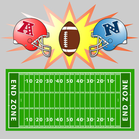 gridiron: A vector illustration of an American Football field and helmets