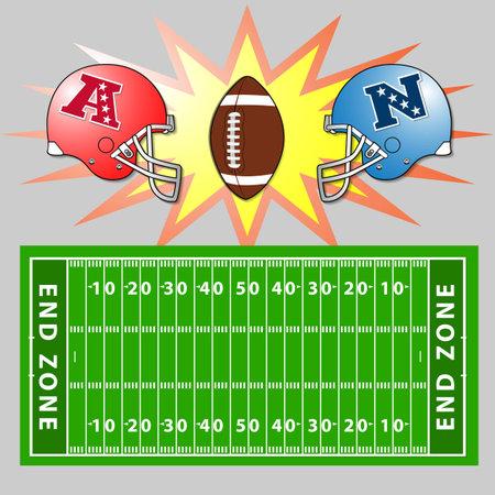 terrain football: Une illustration de vecteur d'un champ et des casques de football américain Illustration