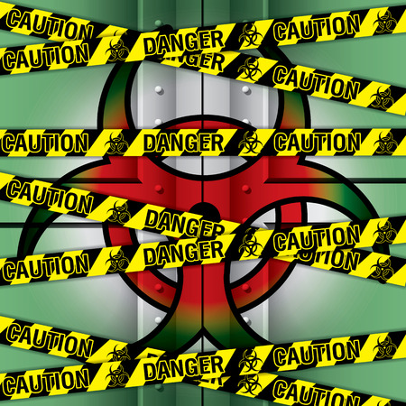 trespass: illustration of police security tapes, Bio hazard Lab iron Door