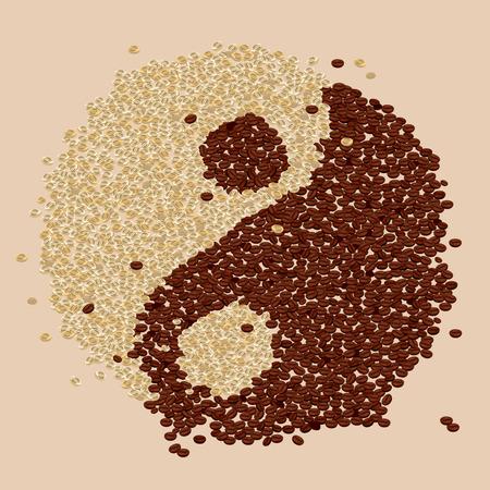 coffee beans: Granos de caf� Yin-Yang Vectores