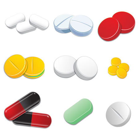 Tablets and pills vector set isolated on white background