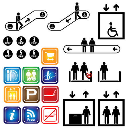 Elevator  escalator  Sign  Department  Vector  Illustrator  set