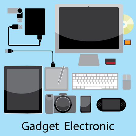 electronic gadget: Vector illustration of Electronic Gadget, on blue background