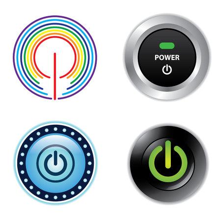 power button: Power  Button  Push  Start  close  icon  vector Illustration