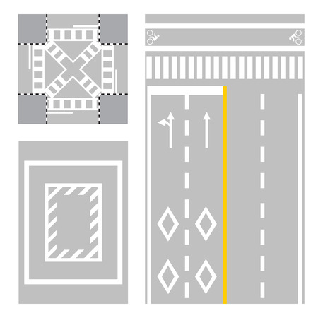 country road: crossing street  safety zone sign on street vector street  japan road vector illustration Illustration