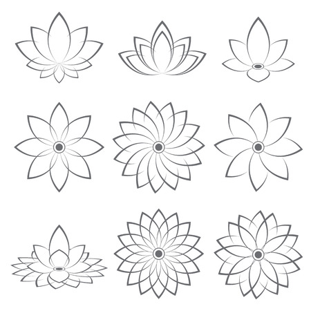 Lotus Symbol icon design  Vector illustration