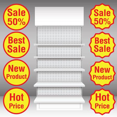 retail display: Supermarket shelf  Vector  illustration