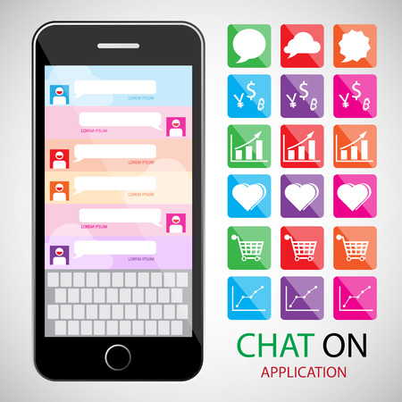 Communicatie concept met smartphone. infographic en pictogram