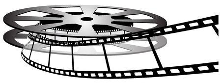 Filmspoel op witte photo-realistic vectorillustratie wordt geïsoleerd die Stock Illustratie