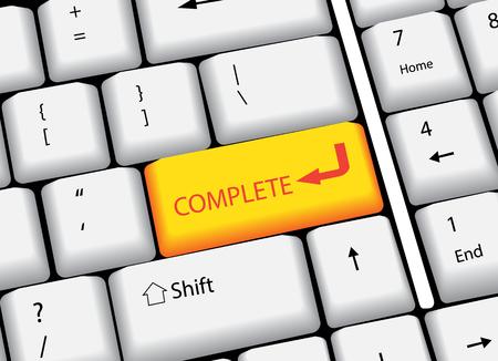 Zwarte toetsenbordcomputer met woord Volledige, vectorillustratie