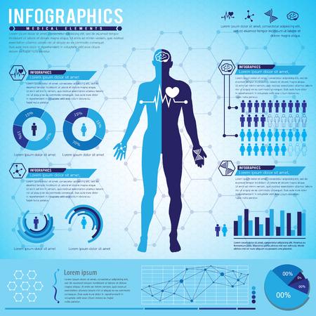 Medische Element Infographics. Vectorillustratie Stock Illustratie