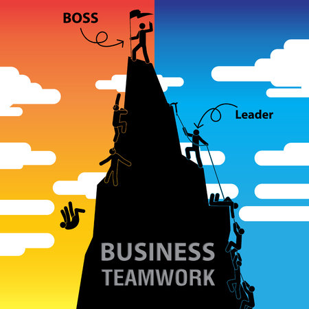 Boss or Leader Business Teamwork. Stock Illustratie
