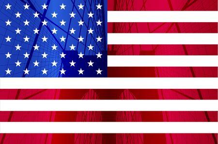 Brooklyn Bridge on USA Flag, New York City.