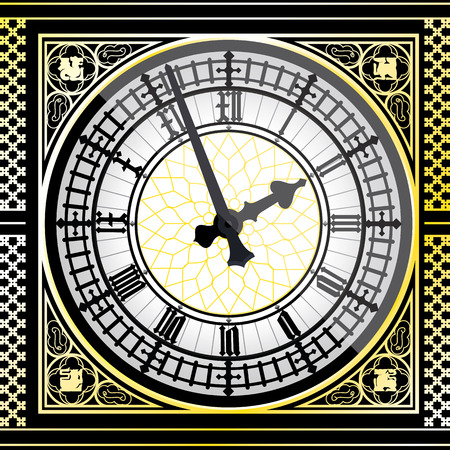 Big ben clock detailed - vector illustration Фото со стока - 73696299