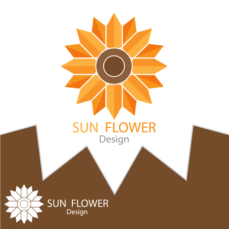 Sun Flower logo template design elements, Real Estate symbols icon. vector illustration Illustration