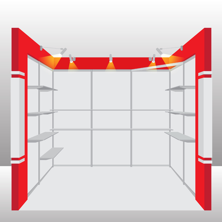 fairs: Empty Booth Exhibition. Vector Illustration Illustration