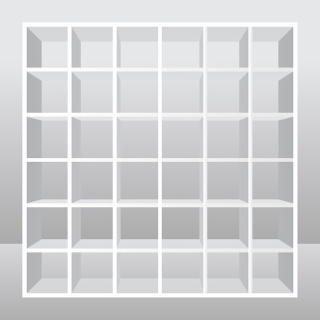 Empty white shelves stand on Isolated Background. Vector illustration