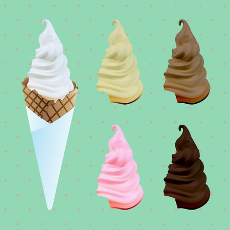 chocolate swirl: Soft cream isolated on sweet background. Vector Illustration