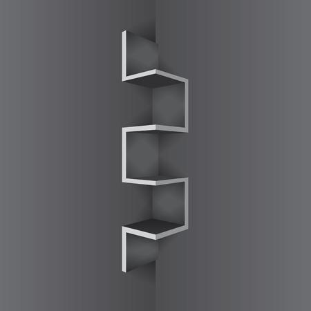 plywood: Empty Black shelf furniture Corner for living room