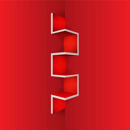 plywood: Empty Red shelf furniture Corner for living room Illustration