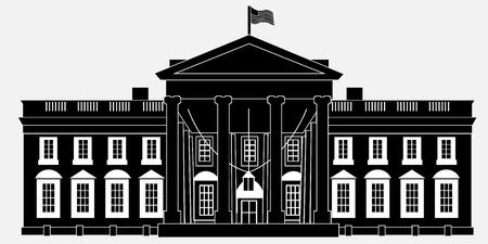 Zwart Silhouet Wit Huis Geïsoleerd op een witte achtergrond. Vectorillustratie