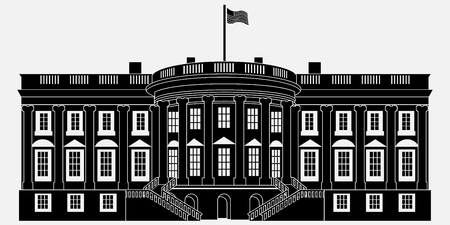 Black Silhouette White House Isolated on white background. Vector Illustration Imagens - 75850137