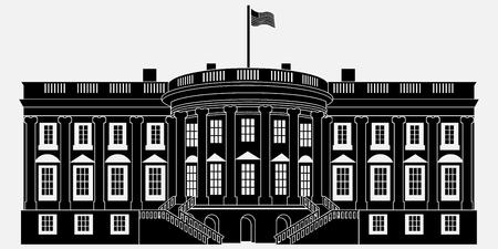 Zwart silhouet witte huis geïsoleerd op een witte achtergrond. Vector illustratie