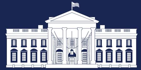 White Silhouette White House Isolated on Blue BG
