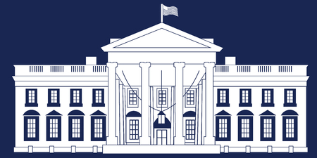 White Silhouette White House Isolated on Blue BG