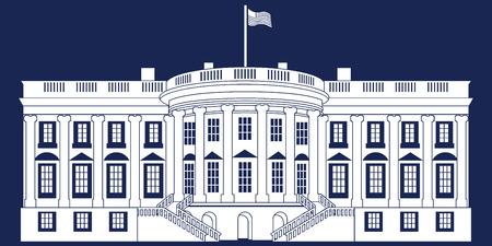 Wit silhouet witte huis geïsoleerd op blauwe BG Stock Illustratie