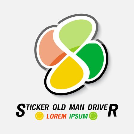 Sticker voor Old Man Driver. vector illustratie