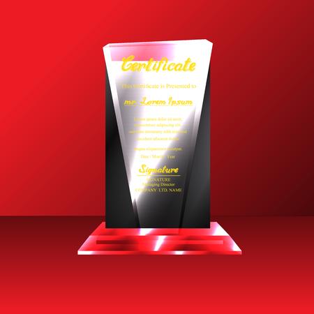 Kristallen trofee certificaat design template op rode achtergrond. vector Illustration