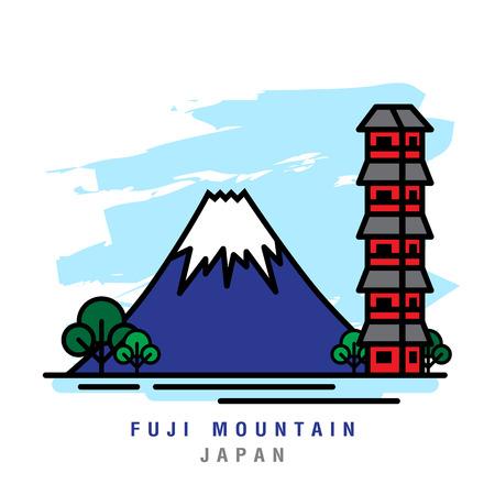 Illustrator van Fuji Mountain. Vector illustratie