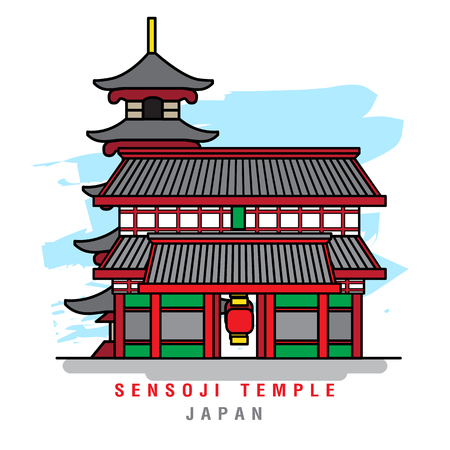Illustrator of Sensoji Temple. Vector Illustration