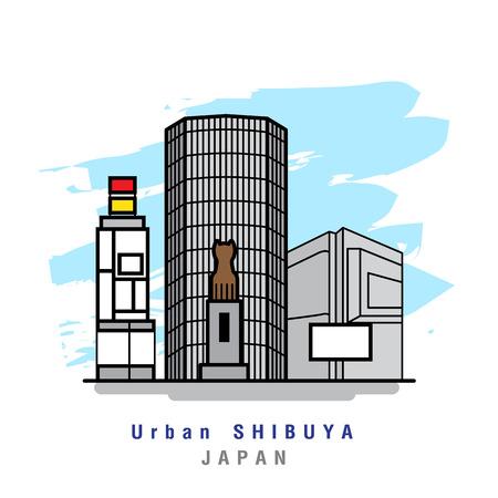 Illustrator of Urban Shibuya. Vector Illustration