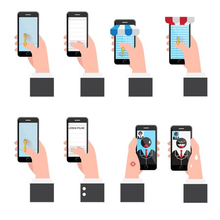 Illustratie set communicatie op mobiel. vectorillustratie Stock Illustratie