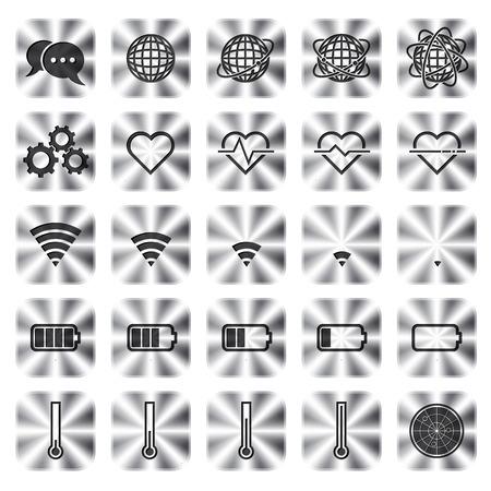 금속 아이콘 웹 및 응용 프로그램에 대 한 통신의 집합입니다. 벡터 일러스트 레이 션 일러스트