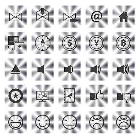 metallic Icons Set van communicatie voor web en applicatie. vectorillustratie