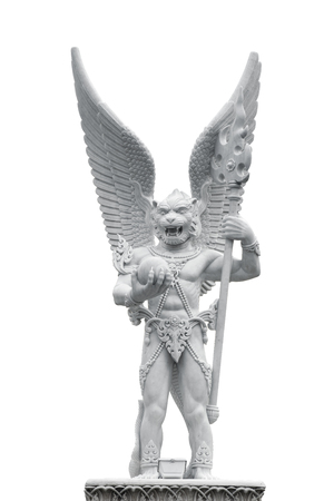 Statue of Half Monky and Eagle isolated white background in Bangkok Thailand. 스톡 콘텐츠 - 121120205