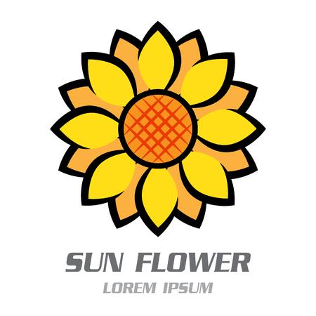 Sun Flower Symbol Logo. Vector illustration