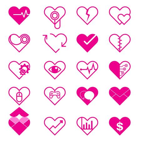 Set Heart Icon Isolated on White background
