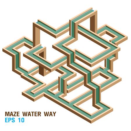 Isometric Maze Water Way. Vector Illustration 일러스트