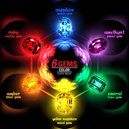6 Gems on Abstract Color background. Vector illustration 일러스트