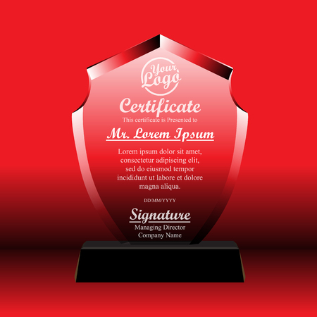 Crystal trophy certificate design template. Vector Illustration 일러스트