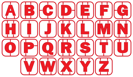 Alphabet Model style with red frame. vector illustration